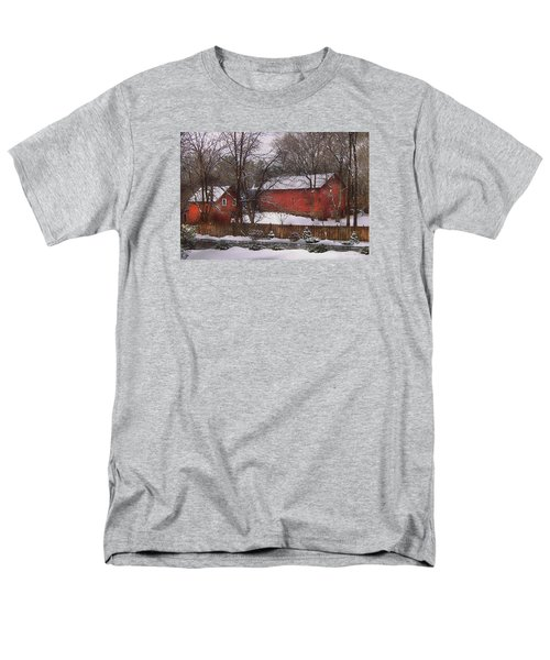 Farm - Barn - Winter In The Country  Men's T-Shirt  (Regular Fit) by Mike Savad