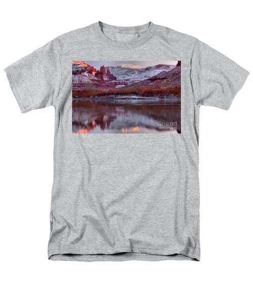 Men's T-Shirt  (Regular Fit) featuring the photograph Fisher Towers Fading Sunset by Adam Jewell