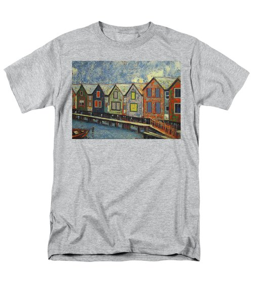 Men's T-Shirt  (Regular Fit) featuring the painting Fishermen Huts by Walter Casaravilla