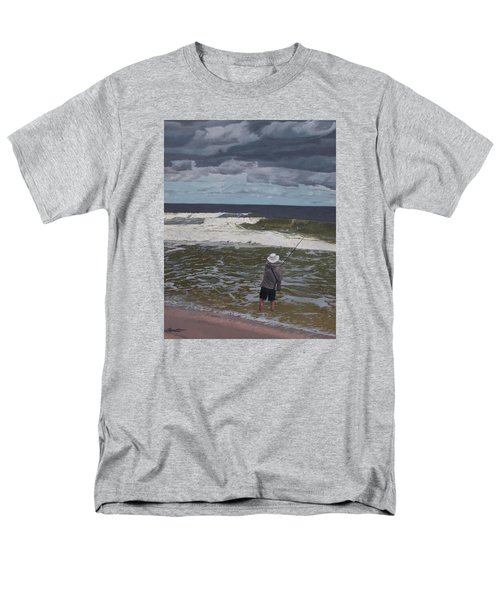 Fishing The Surf In Lavallette, New Jersey Men's T-Shirt  (Regular Fit) by Barbara Barber