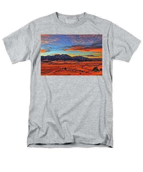 Men's T-Shirt  (Regular Fit) featuring the photograph Flatiron Sunset Fire Red by Scott Mahon