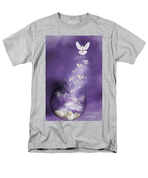 Men's T-Shirt  (Regular Fit) featuring the mixed media Flight To Freedom by Jim  Hatch