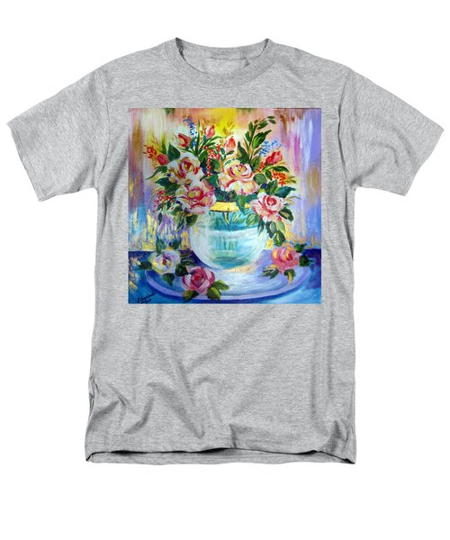 Men's T-Shirt  (Regular Fit) featuring the painting Flowers Still Life  by Roberto Gagliardi