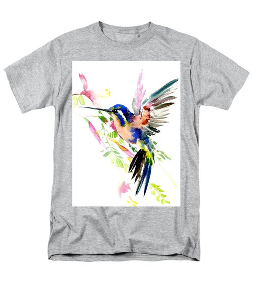 Flying Hummingbird Ltramarine Blue Peach Colors Men's T-Shirt  (Regular Fit) by Suren Nersisyan