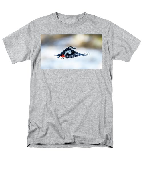 Men's T-Shirt  (Regular Fit) featuring the photograph Flying Woodpecker by Torbjorn Swenelius