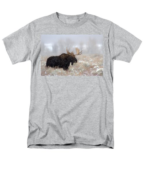 Men's T-Shirt  (Regular Fit) featuring the photograph Foggy Moose Silhouette by Adam Jewell