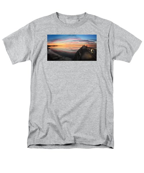 Fort Fisher Sunset Reverie With Heron Men's T-Shirt  (Regular Fit) by Phil Mancuso