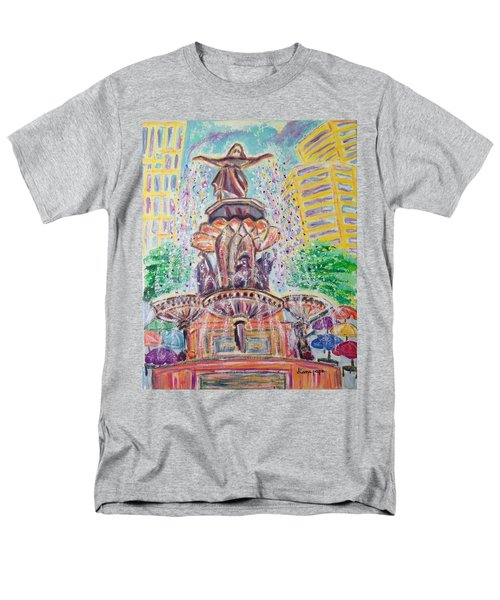 Men's T-Shirt  (Regular Fit) featuring the painting Fountain Square  Cincinnati  Ohio by Diane Pape