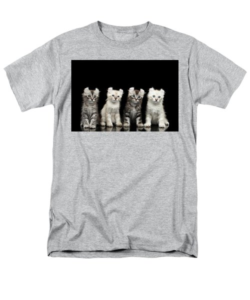 Four American Curl Kittens With Twisted Ears Isolated Black Background Men's T-Shirt  (Regular Fit) by Sergey Taran