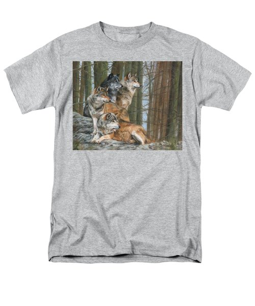 Men's T-Shirt  (Regular Fit) featuring the painting Four Wolves by David Stribbling