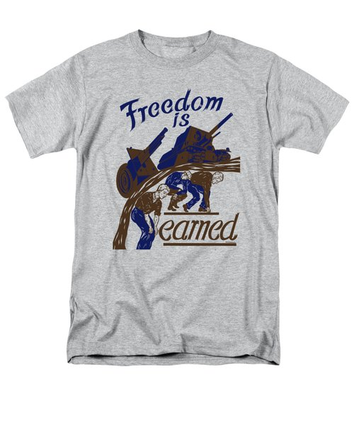 Men's T-Shirt  (Regular Fit) featuring the mixed media Freedom Is Earned - Ww2 by War Is Hell Store