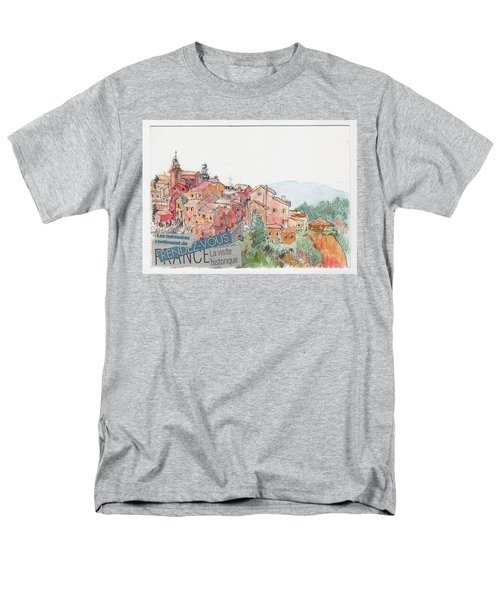 Men's T-Shirt  (Regular Fit) featuring the painting French Hill Top Village by Tilly Strauss