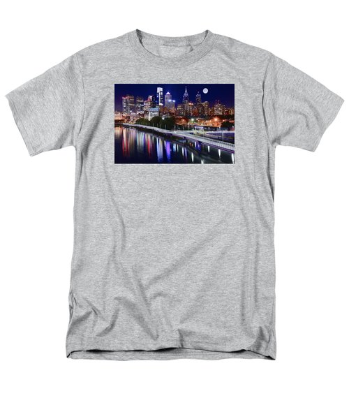 Full Moon Over Philly Men's T-Shirt  (Regular Fit) by Frozen in Time Fine Art Photography
