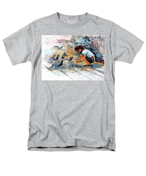 Men's T-Shirt  (Regular Fit) featuring the painting Girl With Birds by Kovacs Anna Brigitta