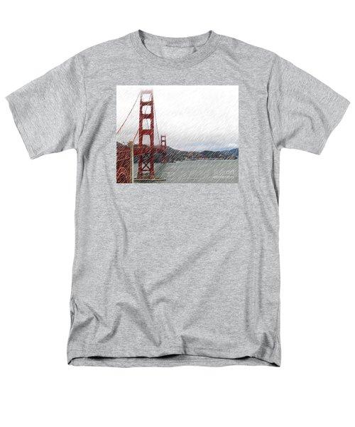Men's T-Shirt  (Regular Fit) featuring the photograph Golde Gate Rain by Cheryl Del Toro