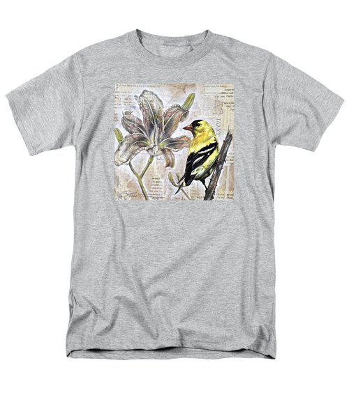 Men's T-Shirt  (Regular Fit) featuring the painting Goldfinch And Lily by Sheri Howe