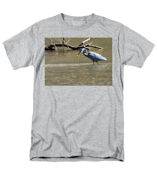 Men's T-Shirt  (Regular Fit) featuring the photograph Great Blue Heron Dinning by Edward Peterson