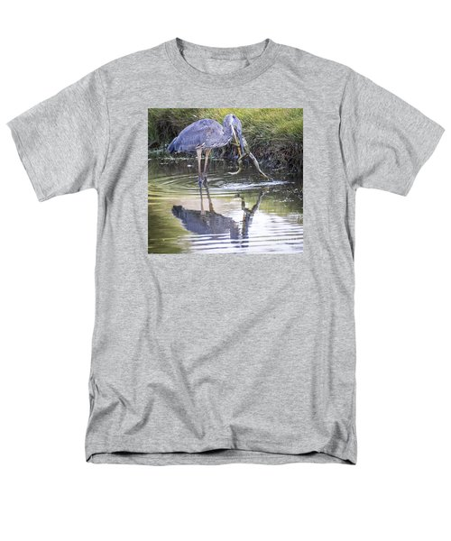 Men's T-Shirt  (Regular Fit) featuring the photograph Great Blue Heron Vs Huge Frog by Ricky L Jones