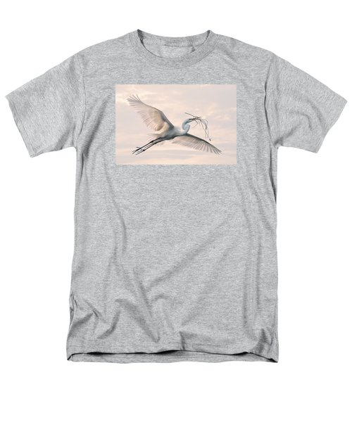 Men's T-Shirt  (Regular Fit) featuring the photograph Great Egret With Nesting Material by Brian Tarr