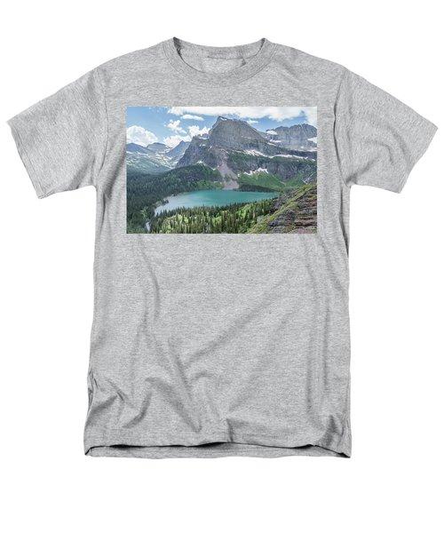 Grinnell Lake From Afar Men's T-Shirt  (Regular Fit) by Alpha Wanderlust