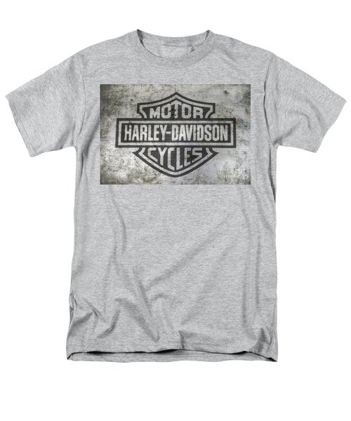 Harley Davidson Logo On Metal Men's T-Shirt  (Regular Fit) by Randy Steele