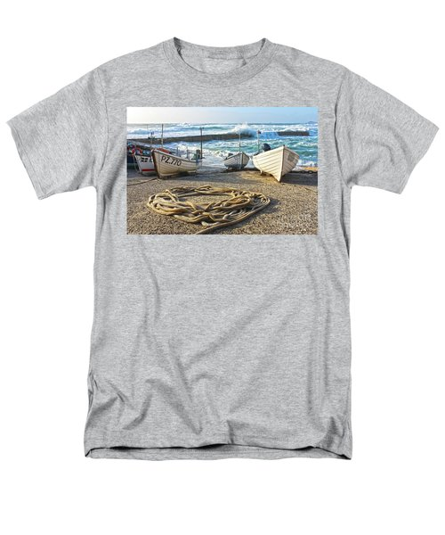Men's T-Shirt  (Regular Fit) featuring the photograph High Tide In Sennen Cove Cornwall by Terri Waters