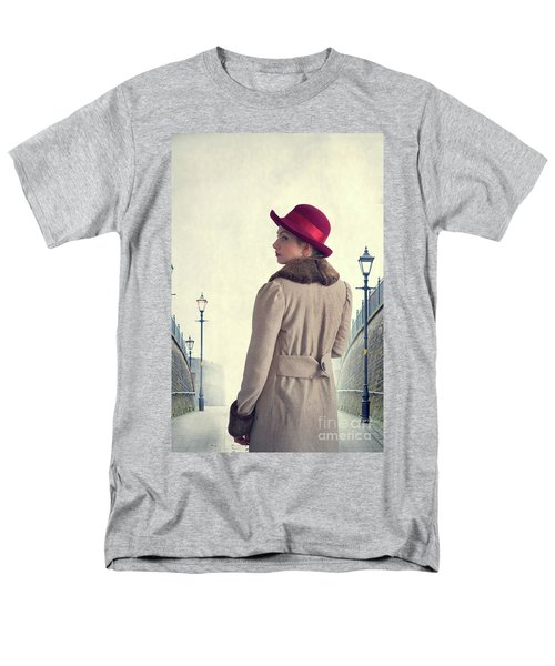 Historical Woman In An Overcoat And Red Hat Men's T-Shirt  (Regular Fit) by Lee Avison