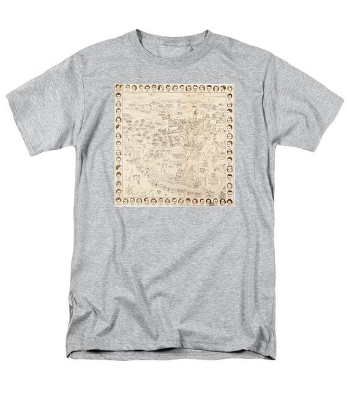 Hollywood Map To The Stars 1937 Men's T-Shirt  (Regular Fit) by Don Boggs