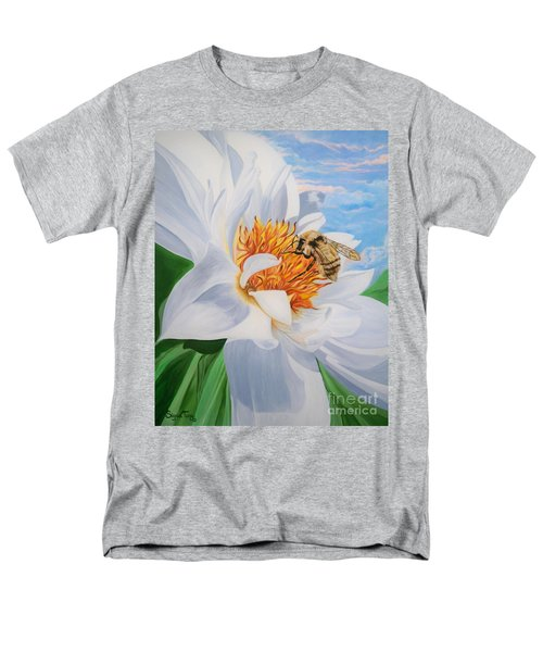 Men's T-Shirt  (Regular Fit) featuring the painting Honey Bee On White Flower by Sigrid Tune