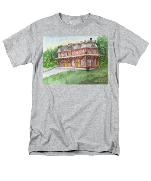 Men's T-Shirt  (Regular Fit) featuring the painting Hopewell Nj Train Station by Lucia Grilletto