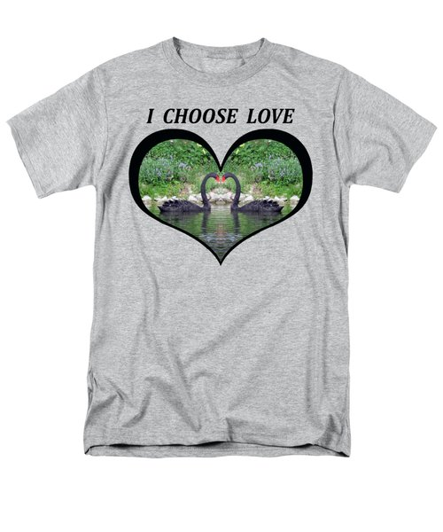 I Chose Love With Black Swans Forming A Heart Men's T-Shirt  (Regular Fit) by Julia L Wright