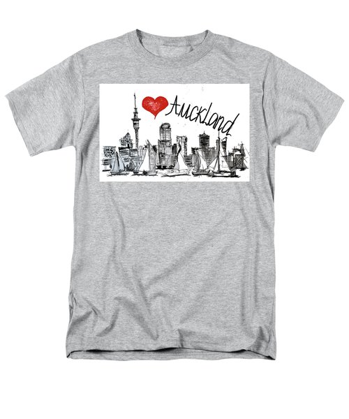Men's T-Shirt  (Regular Fit) featuring the drawing I Love Auckland  by Sladjana Lazarevic