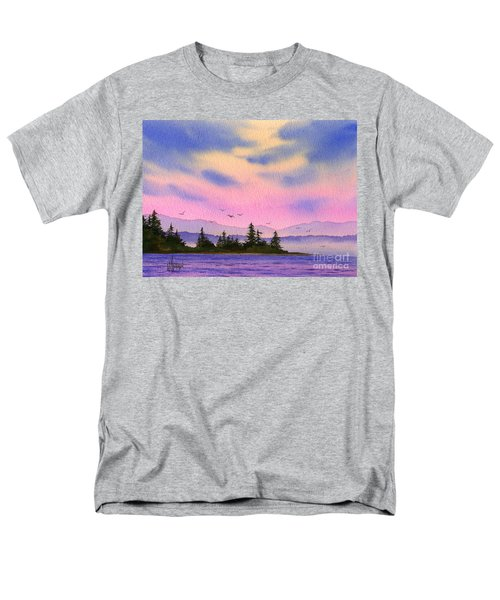 Men's T-Shirt  (Regular Fit) featuring the painting Inland Sea Sunset by James Williamson