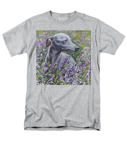 Men's T-Shirt  (Regular Fit) featuring the painting  Italian Greyhound In Flowers by Lee Ann Shepard