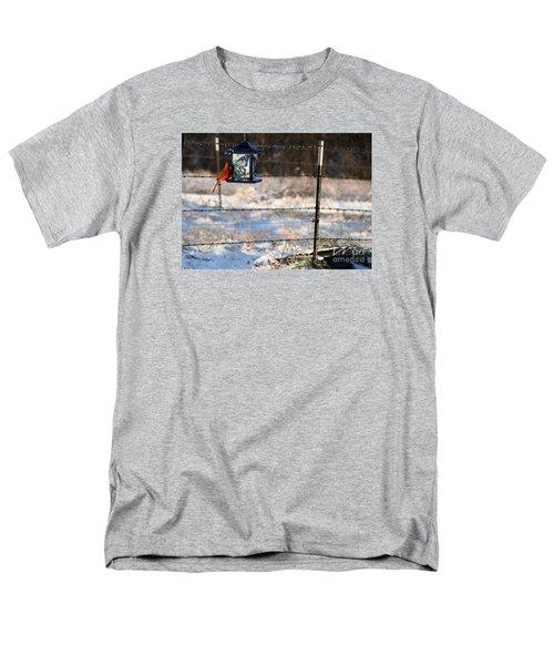 Men's T-Shirt  (Regular Fit) featuring the photograph Kansas Cardinal At The Feeder by Mark McReynolds