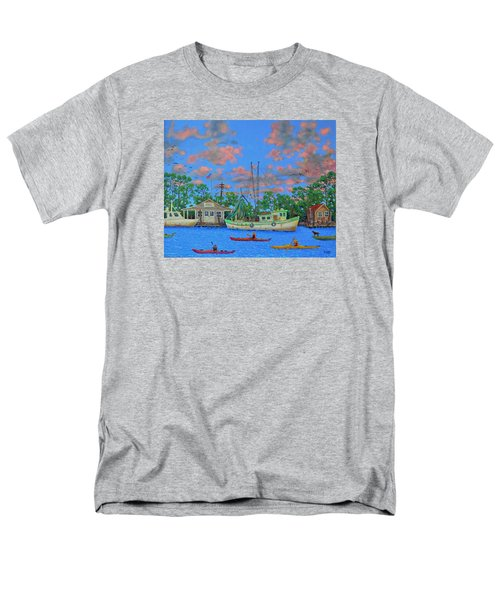 Men's T-Shirt  (Regular Fit) featuring the painting kayaks on the Creek by Dwain Ray