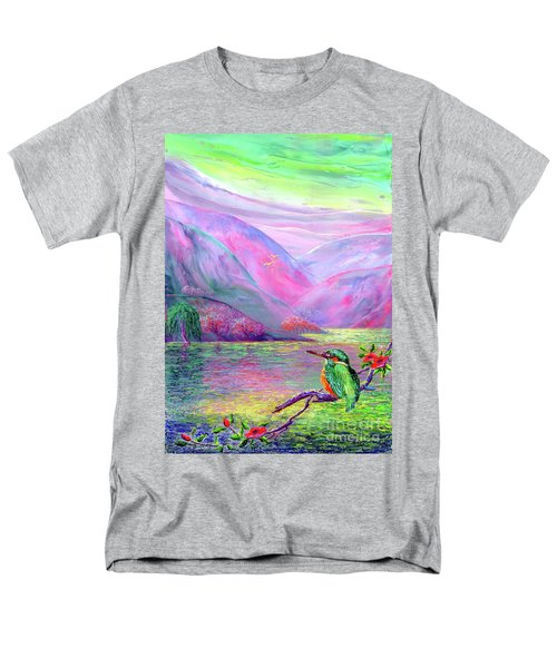 Kingfisher, Shimmering Streams Men's T-Shirt  (Regular Fit) by Jane Small