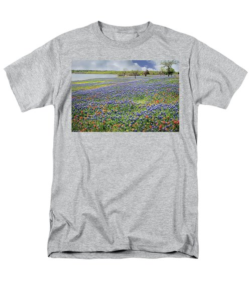 Men's T-Shirt  (Regular Fit) featuring the photograph Lakeside Texas Bluebonnets by David and Carol Kelly