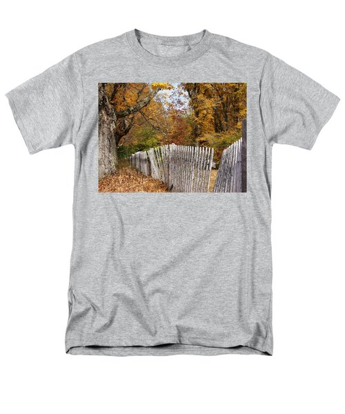 Men's T-Shirt  (Regular Fit) featuring the photograph Leaves Along The Fence by Lois Lepisto