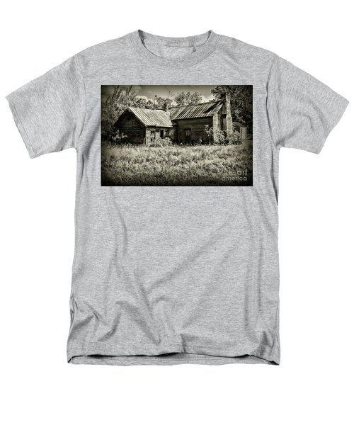 Little Red Farmhouse In Black And White Men's T-Shirt  (Regular Fit) by Paul Ward