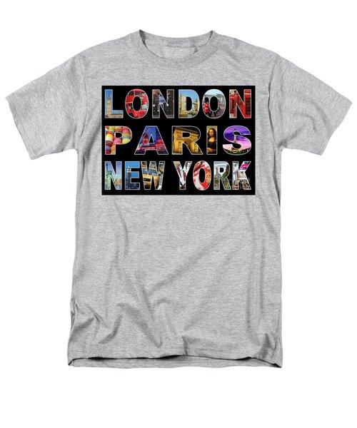 Men's T-Shirt  (Regular Fit) featuring the digital art London Paris New York, Black Background by Adam Spencer