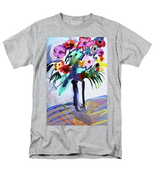 Long Vase Of Red Flowers Men's T-Shirt  (Regular Fit) by Amara Dacer