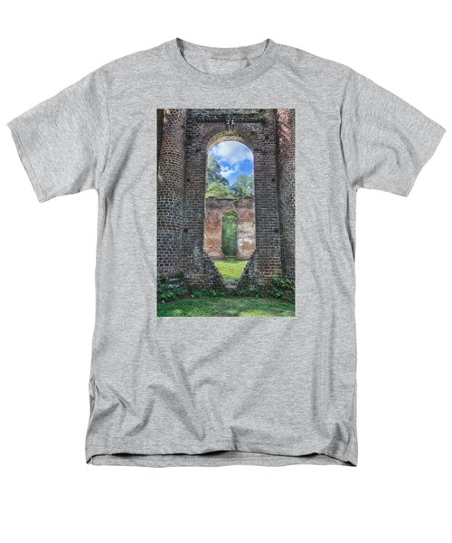Men's T-Shirt  (Regular Fit) featuring the photograph Looking Through The Old Sheldon Church by Patricia Schaefer