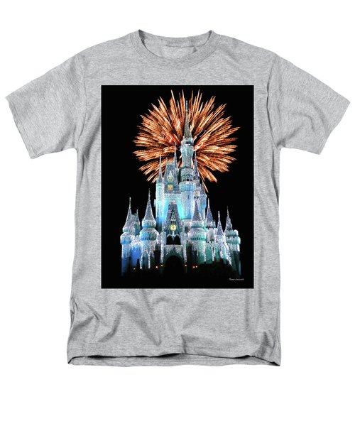 Magic Kingdom Castle In Frosty Light Blue With Fireworks 02 Mp Men's T-Shirt  (Regular Fit) by Thomas Woolworth
