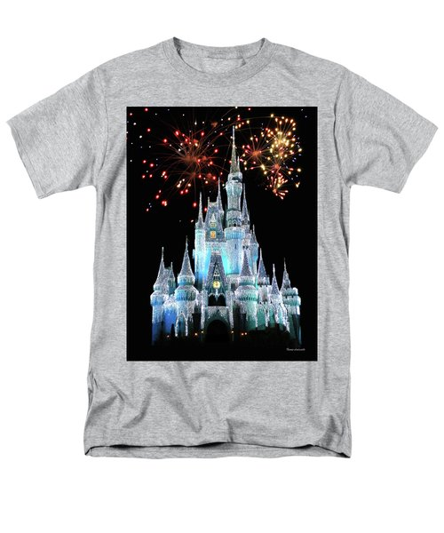 Magic Kingdom Castle In Frosty Light Blue With Fireworks 03 Mp Men's T-Shirt  (Regular Fit) by Thomas Woolworth