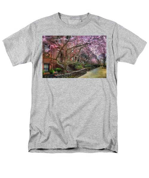 Men's T-Shirt  (Regular Fit) featuring the photograph Magnolia Trees In Spring - Back Bay Boston by Joann Vitali