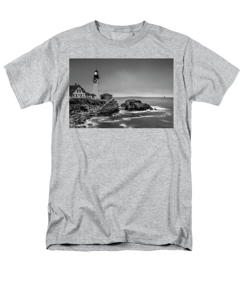 Maine Cape Elizabeth Lighthouse Aka Portland Headlight In Bw Men's T-Shirt  (Regular Fit) by Ranjay Mitra