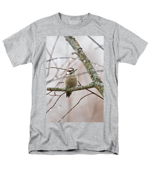 Male Downey Woodpecker Men's T-Shirt  (Regular Fit) by Michael Peychich