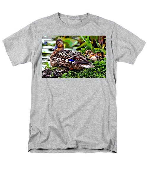 Men's T-Shirt  (Regular Fit) featuring the mixed media Mallard And Chicks by Charles Shoup