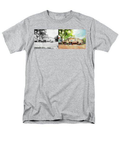 Men's T-Shirt  (Regular Fit) featuring the photograph Mechanic - All Cars Finely Tuned 1920 - Side By Side by Mike Savad